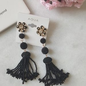 Aqua Flower Beaded Fringe Drop Earrings
